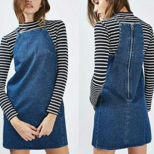 Topshop Moto Square Neck Mini Denim Dress